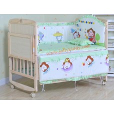 เตียงไม้สนธรรมชาติ เตียงเด็กอ่อนคุณภาพปรับใช้ได้หลายฟังชั่น มีชุดเบาะกันกระแทกพร้อมมุ้งให้