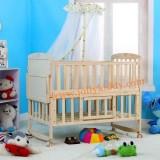 เตียงเด็กอ่อนทำจากไม้สนธรรมชาติคุณภาพ ปรับใช้ได้หลายฟังชั่น สินค้าใหม่่มีชุดเบาะกันกระแทกพร้อมมุ้งให้
