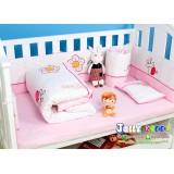ชุดเครื่องนอน พร้อมเบาะกันกระแทกรอบเตียงเด็กลาย Pink Giraff