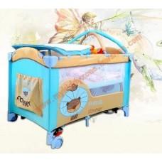 เตียงเด็กplaypen สีฟ้า travel bed พร้อมชั้นวางที่เปลี่ยนผ้าอ้อมเด็กด้านบน